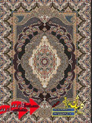 قیمت فرش کاشان 1000 شانه نقشه اهورا سرمه ای