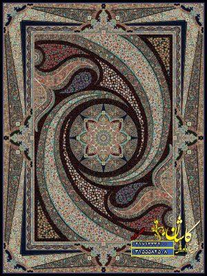 قیمت فرش کاشان 1000 شانه طرح کهکشان سرمه ای