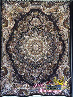 قیمت فرش کاشان ۱۰۰۰ شانه نقشه ساغر سرمه ای