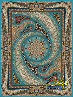 قیمت فرش کاشان 1000 شانه طرح کهکشان ابی