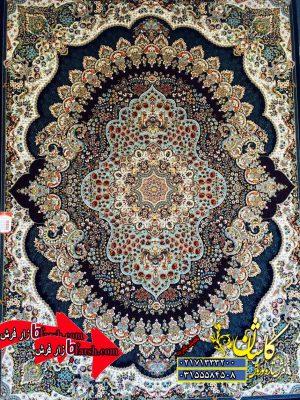 قیمت فرش کاشان 700 شانه طرح ارکیده سرمه ای