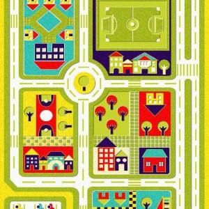 فرش اتاق کودک مدل شهر سبز