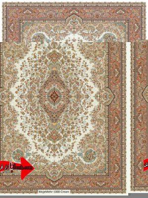 قیمت فرش کاشان 1000 شانه طرح مهر کرم