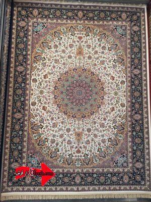 فرش ۱۲۰۰ شانه کاشان طرح اصفهان کرم