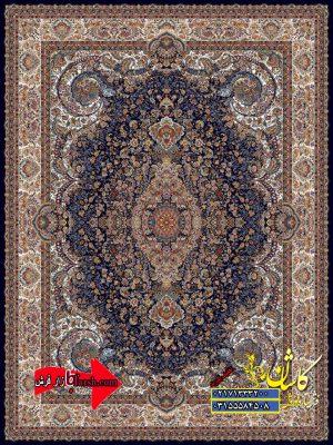 قیمت فرش کاشان 1000 شانه طرح مهر سرمه ای
