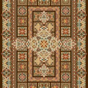 فرش تمام ابریشم مدل مسرور قهوه ای