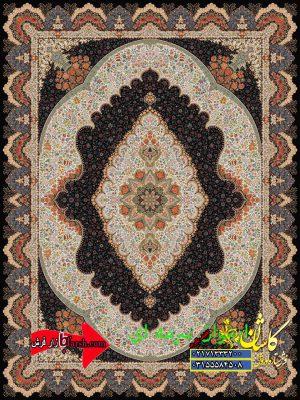 قیمت فرش کاشان 1000 شانه طرح ارغوان سرمه ای