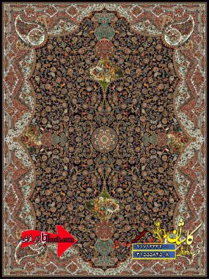 قیمت فرش کاشان 1000 شانه طرح شکارگاه سرمه ای