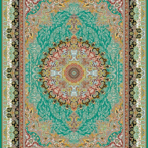 فرش ساوین الیسا سبز | قیمت فرش ساوین | فرش ساوین