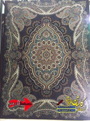 قیمت فرش کاشان 700 شانه طرح روژان سرمه ای