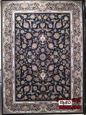 قیمت فرش کاشان 700 شانه طرح افشان سرمه ای جدید