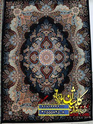 قیمت فرش کاشان 700 شانه طرح اهورا سرمه ای