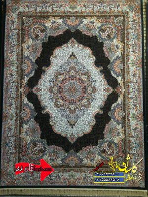 قیمت فرش ۱۲۰۰ شانه کاشان طرح اساطیر سرمه ای