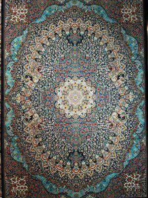 قیمت فرش کاشان 700 شانه طرح بهشت سرمه ای