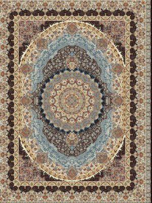فرش ساوین طرح گل نما دودی