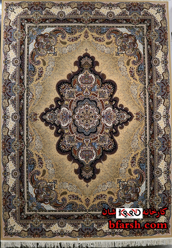 قیمت فرش ۱۰۰۰ شانه کاشان نقشه اورانوس رنگ بژ