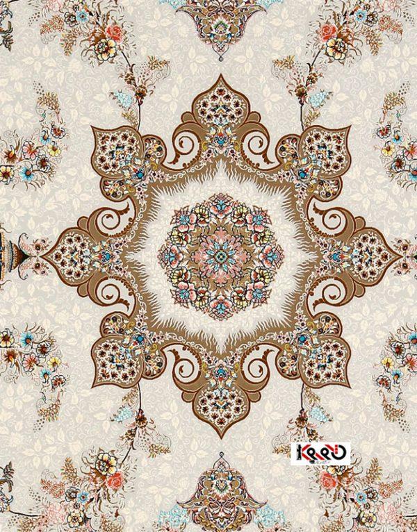 فرش نقش ماه افشان نمای گل وسط