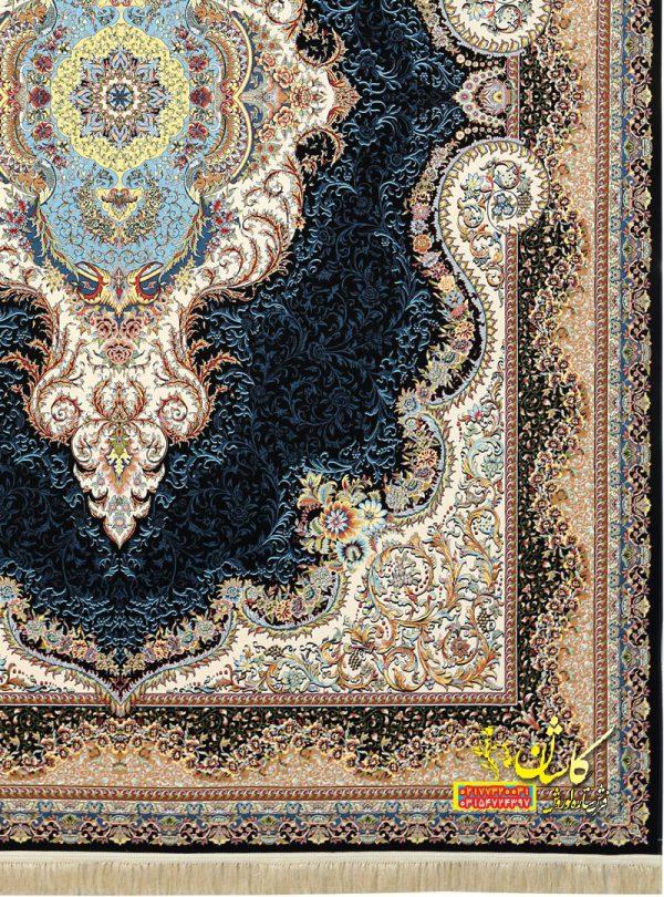 فرش نقشه ارسس سرمه ای گلبرجسته