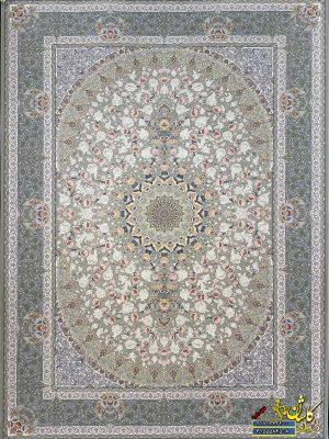 فرش کاشان 1200 شانه نقشه یکتا نقره ای برجسته